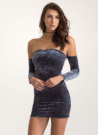Second Skin Velvet Off-Shoulder Dress