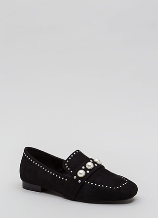 Pearl Interrupted Studded Loafer Flats
