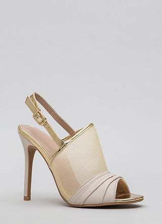 Piece By Piece Mesh Peep-Toe Heels