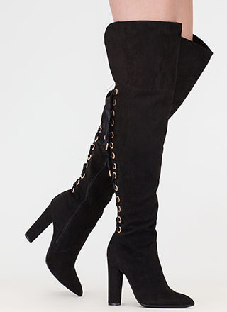 Lace U Back Faux Suede Thigh-High Boots