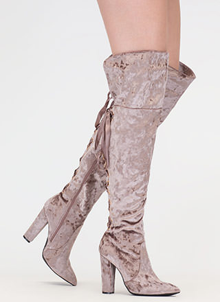 Lace U Back Velvet Thigh-High Boots