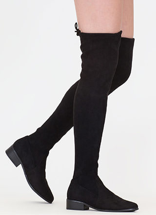 Blocked Off Faux Suede Thigh-High Boots