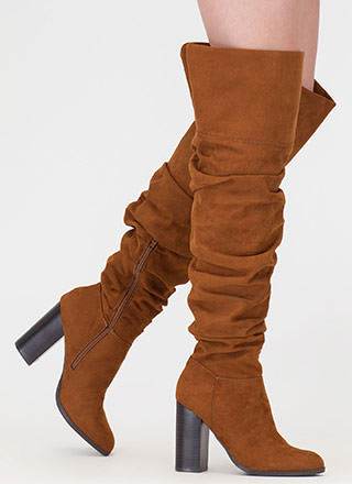 Slouch Appeal Chunky Thigh-High Boots