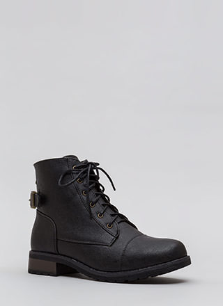 Go To Battle Faux Leather Combat Boots