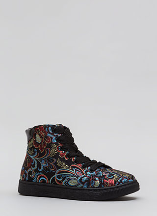 Run Away Embroidered High-Top Sneakers