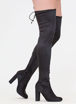 What A Draw Satin Thigh-High Boots
