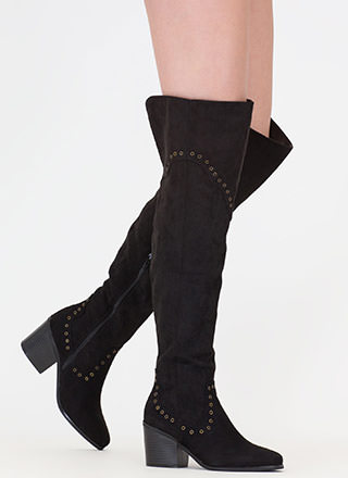 Punch Me Chunky Thigh-High Grommet Boots