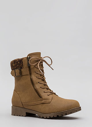 Take A Sweater Cuff Combat Boots