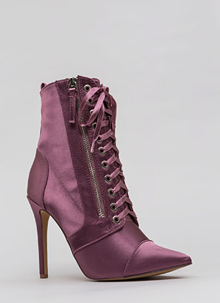Point Value Satin Lace-Up Booties