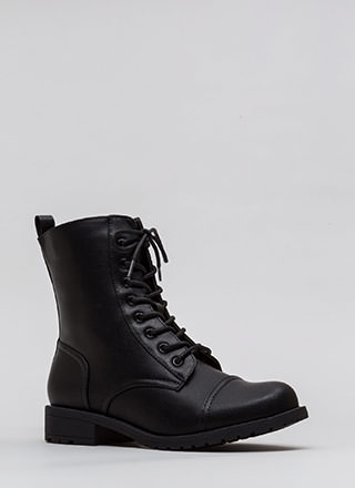 Fight Song Faux Leather Combat Boots