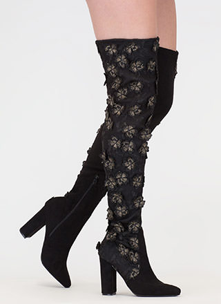Fly Flowers Embroidered Thigh-High Boots