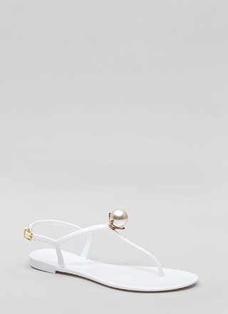 Pretty As A Pearl Jelly Thong Sandals