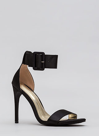 You're Golden Satin Ankle Strap Heels