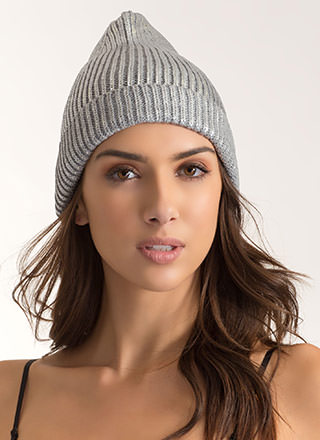 Tip Of The Morning Metallic Knit Beanie