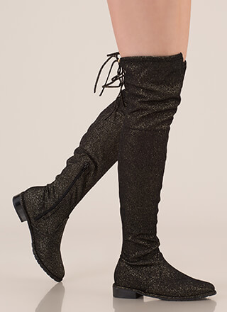 Speck-tacle Drawstring Thigh-High Boots
