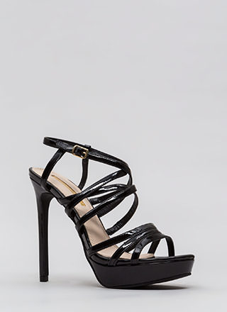 The Skinny Strappy Faux Patent Heels