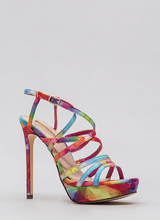 The Skinny Strappy Rainbow Print Heels