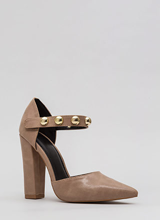 Playing Dome Pointy Ankle Strap Heels