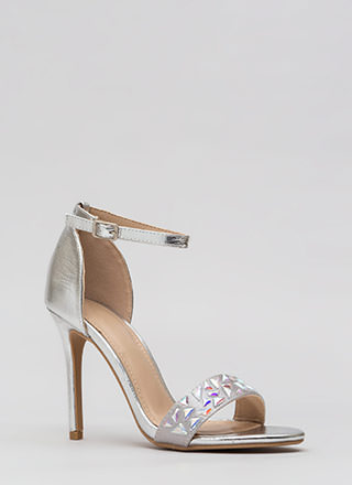 Set In Stone Metallic Jeweled Heels