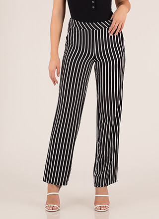 Enter Your Pinstripe Wide-Leg Pants