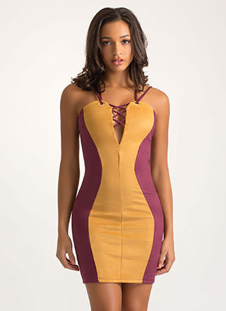 The Hourglass Strappy Faux Suede Dress