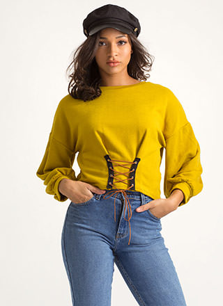 Stay The Corset Lace-Up Sweatshirt