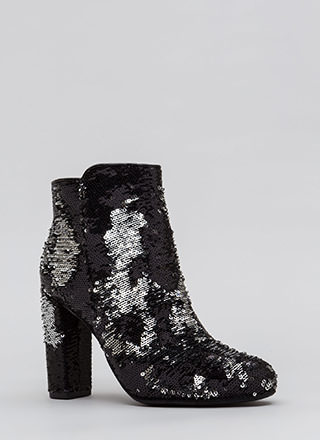 All Sequins All The Time Chunky Booties