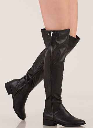Zip It Up Faux Leather Thigh-High Boots
