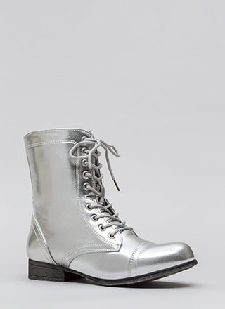 Go Fight Win Metallic Combat Boots