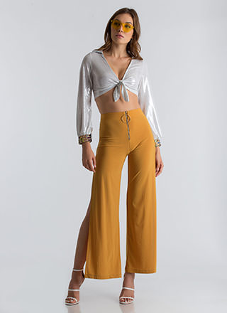 Ring Me Up Slit Zipper Palazzo Pants