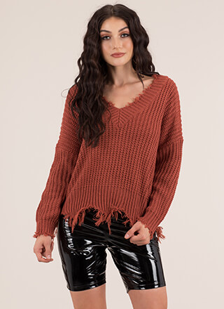Cozy Up Distressed Knit V-Neck Sweater