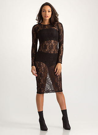 Oh-So-Sheer Floral Lace Midi Dress