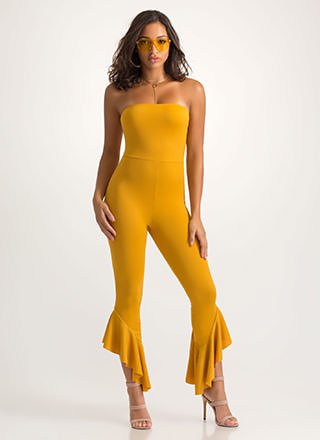 Ruffle Some Feathers Strapless Jumpsuit