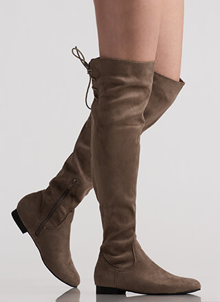 Take A Walk Lace-Back Thigh-High Boots