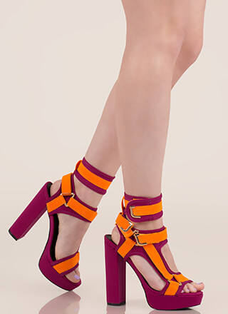 Band Mate Two-Toned Caged Platforms