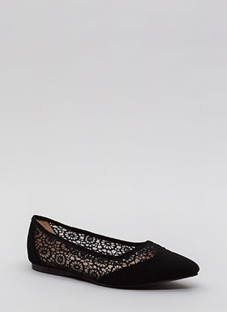 All In The Details Pointy Crochet Flats