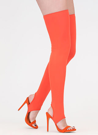 Get Shafted Strappy Thigh-High Heels
