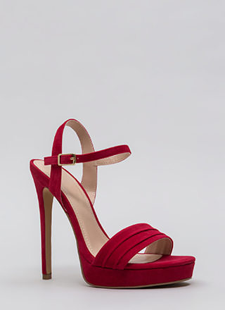 Just Say Pleats Strappy Velvet Platforms