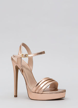 Just Say Pleats Metallic Platforms