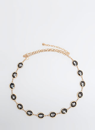 Oval The Moon Jeweled Chain Belt