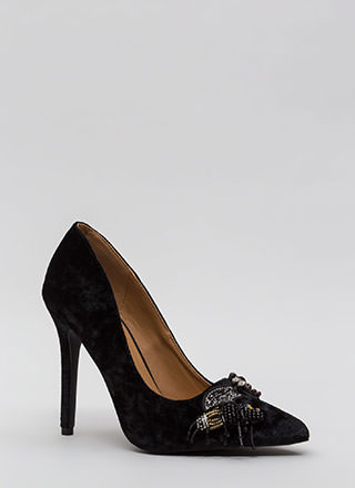 Bug Out Beaded Crushed Velvet Pumps