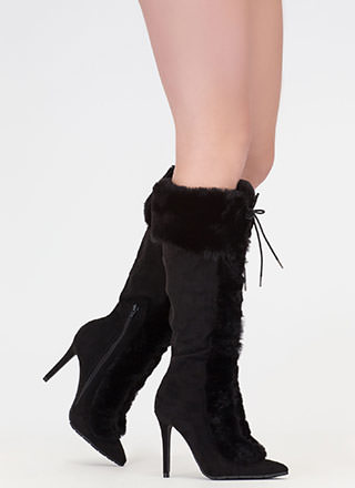 Fur Ever And Ever Pointy Lace-Up Boots