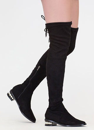 Pearl Interrupted Thigh-High Boots