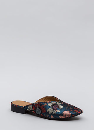Let It V Known Embroidered Floral Flats