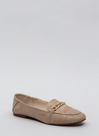 Form A Chain Faux Suede Loafer Flats