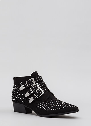 Three For All Studded Buckled Booties
