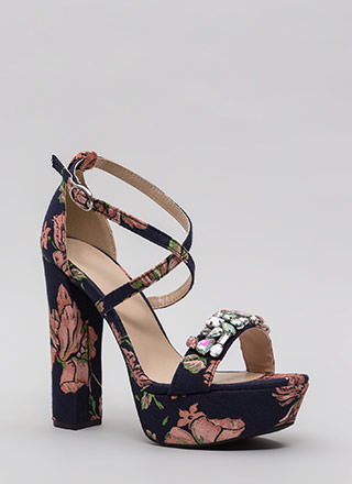 Flowers And Jewels Embroidered Platforms