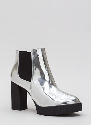 Self-Reflect Chunky Faux Patent Booties