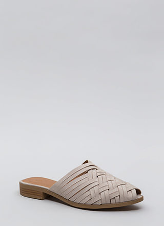 Woven Is Me Faux Suede Mule Flats