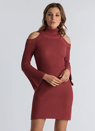 Out In The Cold-Shoulder Sweater Dress